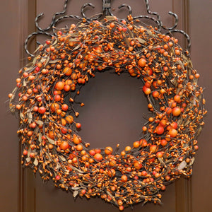 Orange Two Tone Combo Berry Wreath with Leaves (no bow)