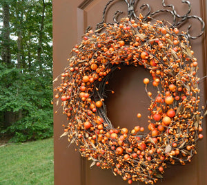 Orange Two Tone Combo Berry Wreath with Leaves