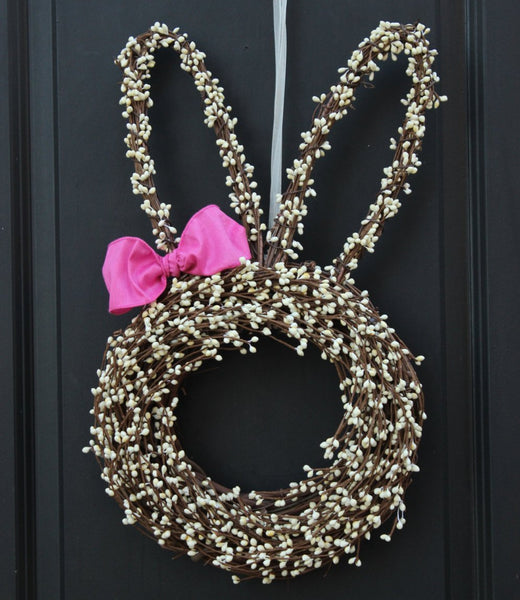 Bunny Wreath - Easter Wreath - Choose Bow - Easter Decoration