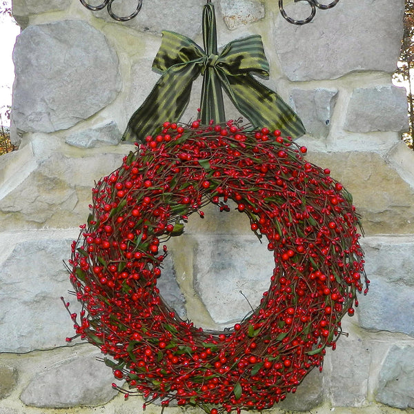 Christmas Wreath - Berry Wreath - Red Wreath - Red Berry Wreath - Choose Bow