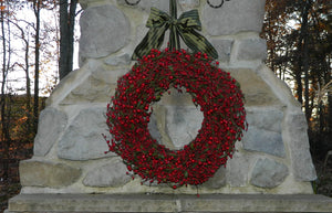 Bright Red Berry Wreath with Green Leaves