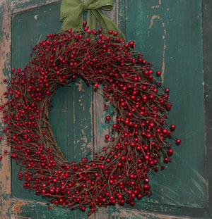 Red Berry Wreath with Bow