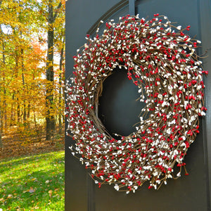 Valentine Wreath - Red Wreath - Holiday Door Decoration -  Door Wreath