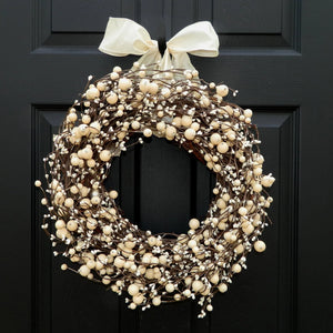 Cream Everyday Combo Berry Wreath with Bow