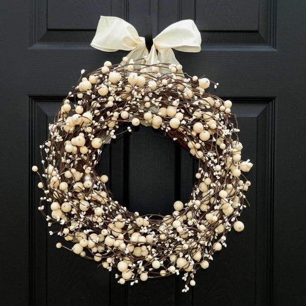 Everyday Wreath -  Berry Wreath - All Season Wreath - Door Wreath - Choose Ribbon and Size - Mother's Day Gift