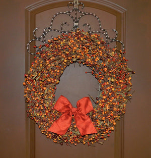 Sunset & Orange Berry Wreath with Leaves with Bow
