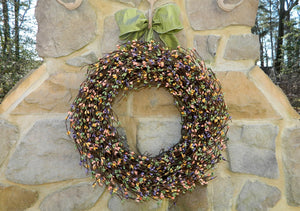 Mixed Spring Pip Berry Wreath with Bow