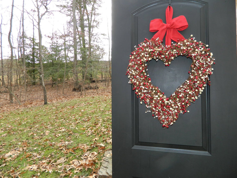 Berry Valentine Heart Wreath with Bow