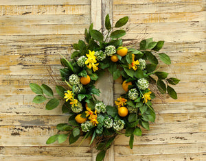 Lemon Floral Summer Door Wreath