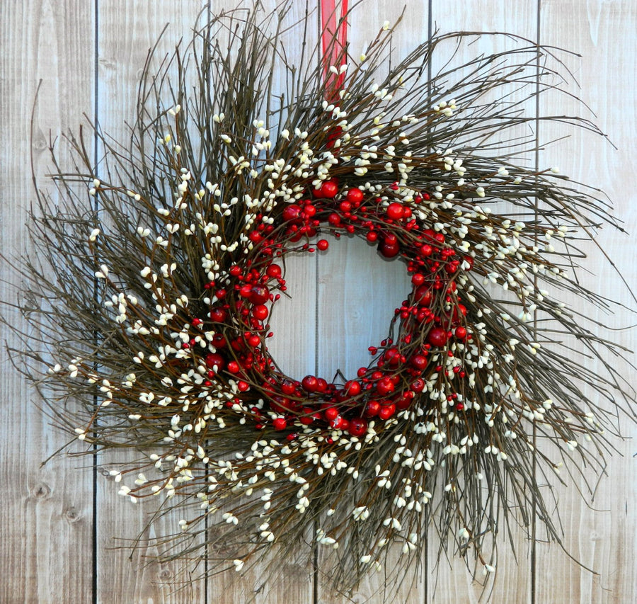 Primitive Red and Cream Berry Wreath