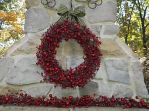 Red Combo Berry Wreath with Bow