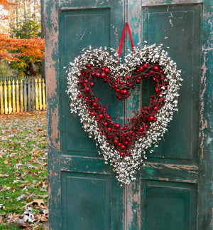Red and Cream Heart Wreath