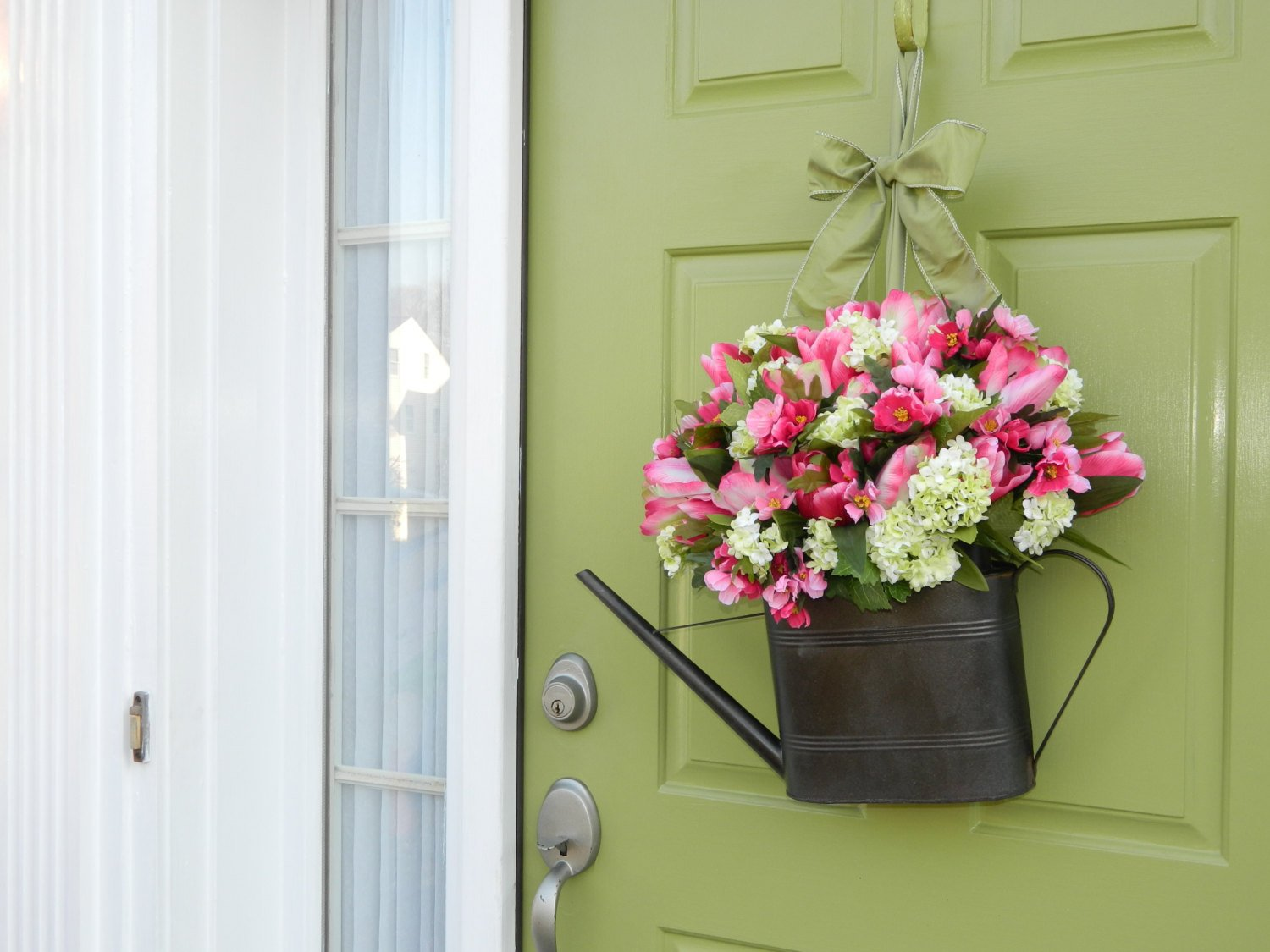 Spring Wreath - Tulip Wreath - Hydrangea Wreath - Mother's Day Gift - Watering Can Wreath