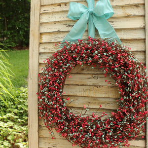 Light Teal & Coral Pip Berry Wreath with Bow
