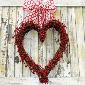 Marvelous Red Heart Wreath with Bow