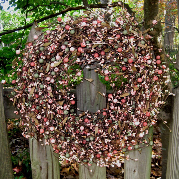 Year Round Wreath -Door Wreath - Berry Wreath - Year Round -  Pink Wreath