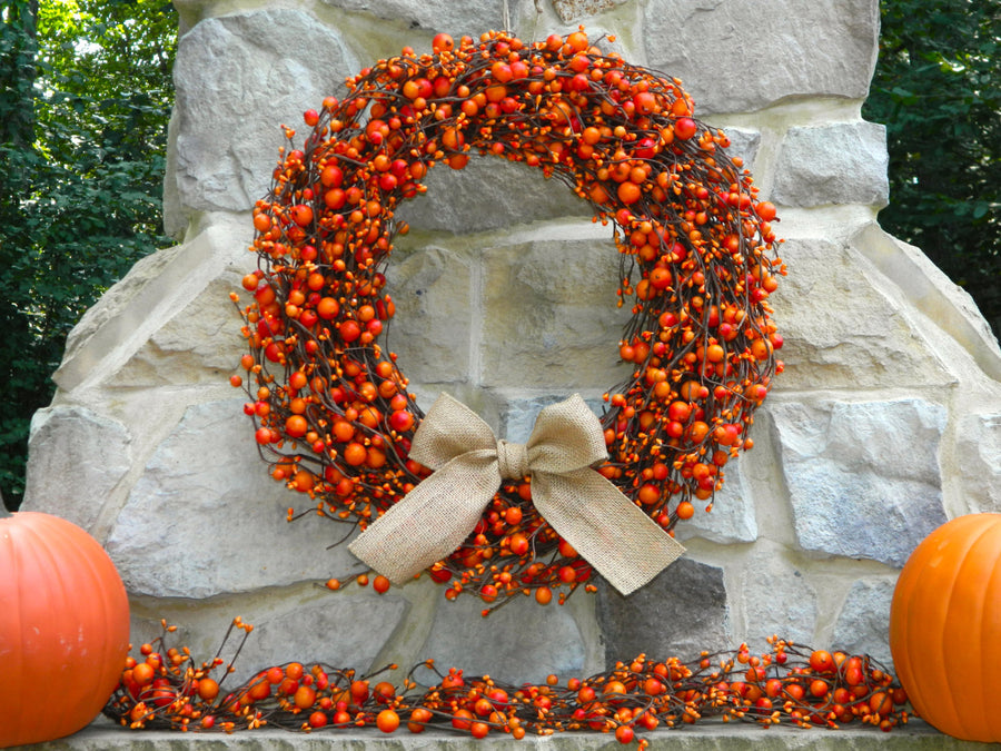 Orange Combo Berry Wreath with Bow