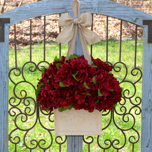 Burlap Hydrangea Wreath Alternative