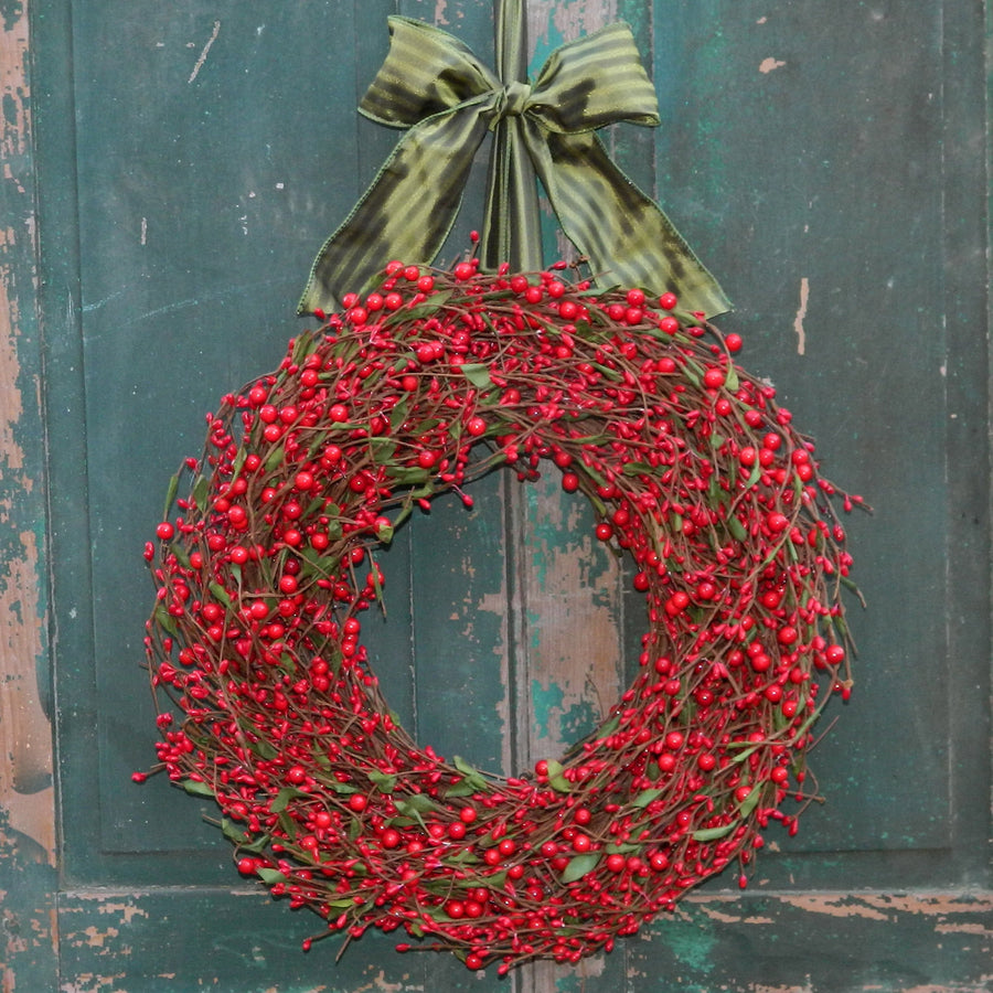 Bright Red Berry Wreath with Green Leaves with Bow