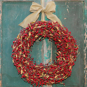 Red Berry Wreath with Leaves