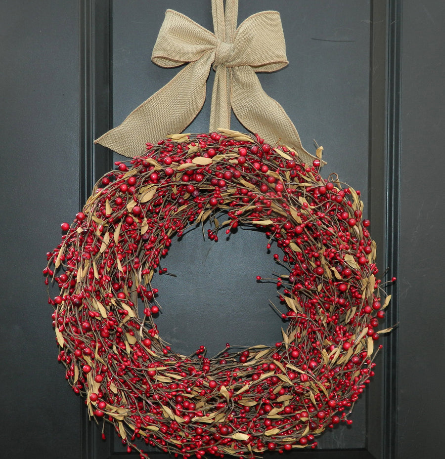 Red Berry Wreath with Leaves with Bow