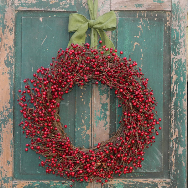 Christmas Wreath Large - Large Wreath - Choose Ribbon - Red Berry Wreath