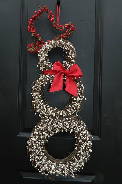 Christmas  Wreath - Snowmen Wreath - Snowman Wreath - Choose Scarf  - Three Sizes