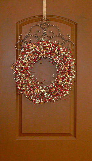 Red & Cream Berry Wreath with Leaves (no bow)