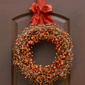 Orange Two Tone Wreath - with Bow Wreath Hanger