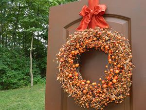 Orange Two Tone Wreath - with Wreath Wrap