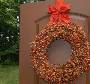 Sunset and Orange Berry Wreath with Leaves - with Bow Wreath Hanger