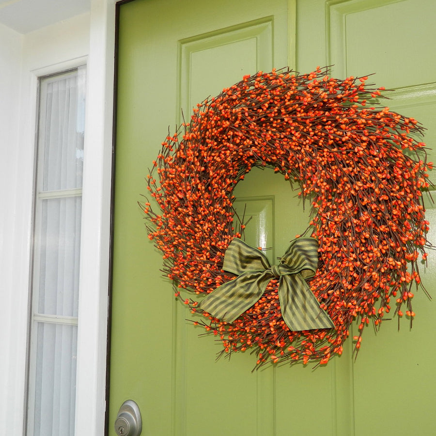Orange Pip Berry Wreath with Bow