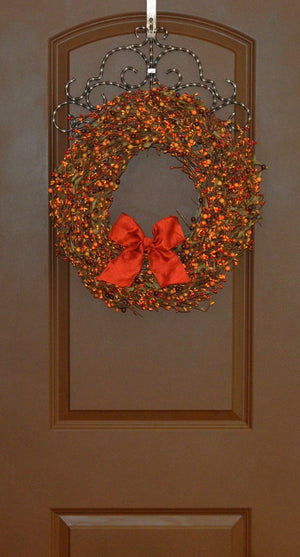 Sunset & Orange Berry Wreath with Leaves (with bow)