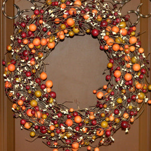 Burgundy, Rose Hip, & Cream Fall Combo Berry Wreath