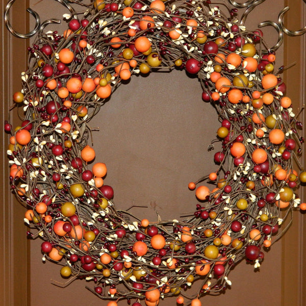 Fall Wreath - Fall Door Decor - Autumn Door Wreath - Orange Berry Wreath