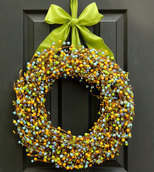 Green, Yellow, Light Blue Mixed Berry Wreath with Bow