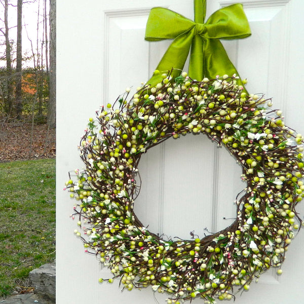 Spring Wreath - Door Wreath - Berry Wreath - Year Round Wreath - Choose Bow