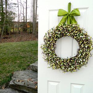 Light Green & Pink Spring Berry Wreath with Small Flowers with Bow