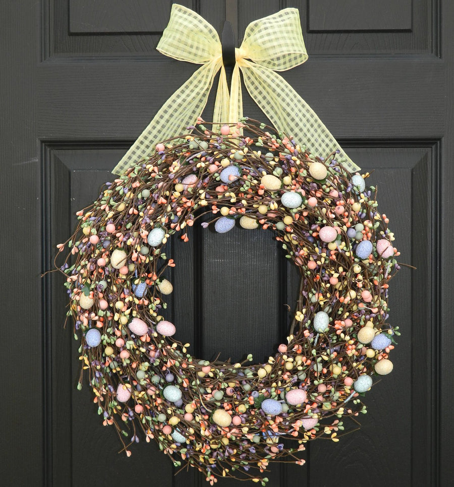 Easter Egg Wreath with Bow