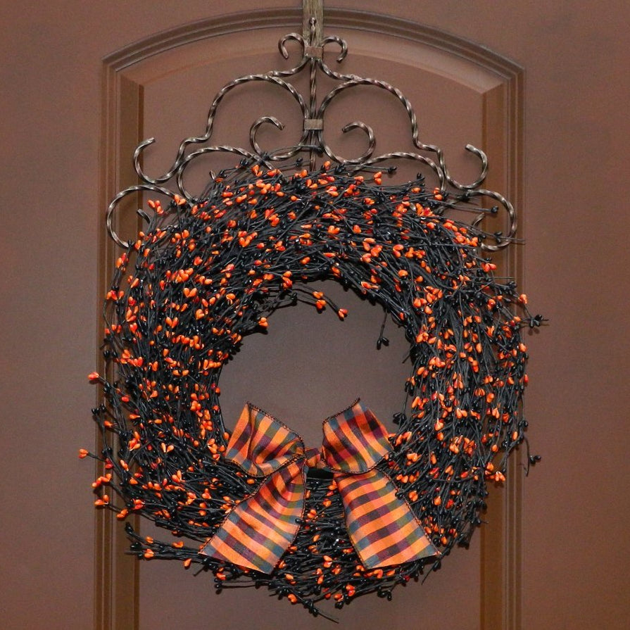 Halloween Wreath - Halloween Door Decoration - Black Wreath - Choose Bow