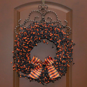 Black and Orange Pip Berry Wreath with Bow