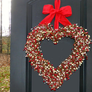 Red and Cream Valentine Heart Wreath