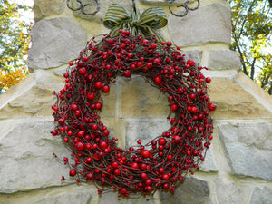 Red Berry Christmas Wreath - Holiday Wreath - Red Wreath - Christmas Wreath - Choose Bow