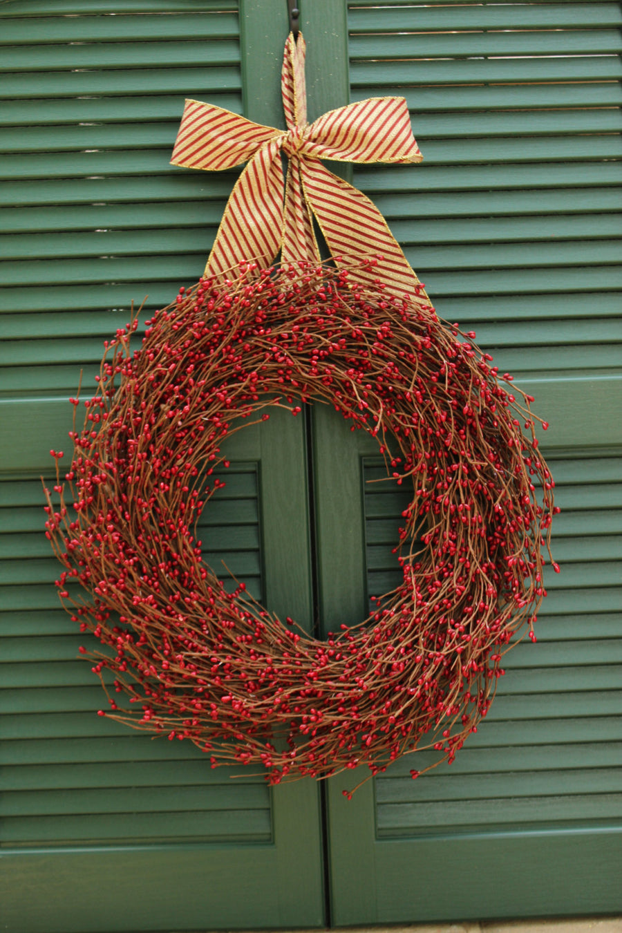 Red Pip Berry Wreath with Bow