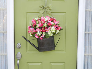 Hydrangea Watering Can Wreath Alternative