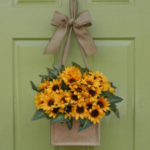 Burlap Sunflower Wreath Alternative