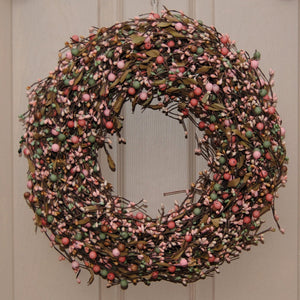 Blissful Berry Wreath with Leaves (no bow)