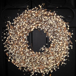 Cream Berry Wreath with Brown Leaves (no bow)