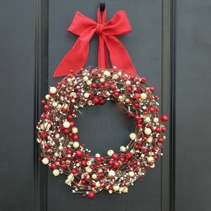 Red & Cream Combo Berry Wreath with Bow