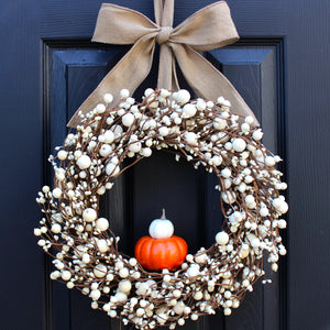 Cream Combo Berry Wreath with Pumpkins with Bow